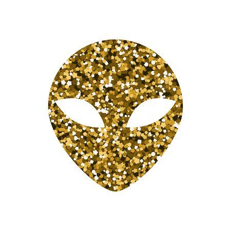 Alien head icon. Vector illustration. Golden shiny texture