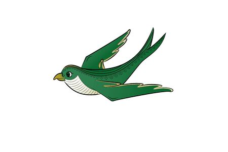 Green bird fly. Vector illustration. Cute chick. Ilustracja