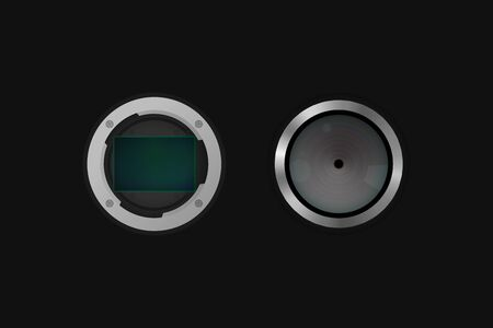 Image sensor and photo lens. Vector illustration. Camera equipment.