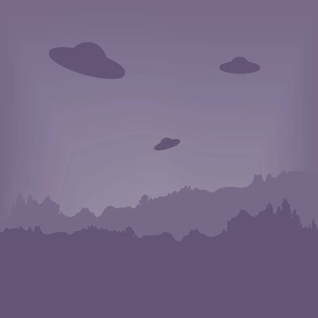 UFO hover in the sky. Twilight over the forest. Vector illustration. Aliens from another planet.  イラスト・ベクター素材