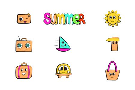 Summer holidays icons set. Cartoon character. Summertime travel vector illustration.
