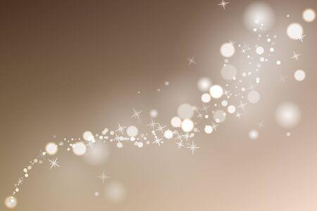 Scintille incandescenti di flusso in fondo beige. Particelle con effetto bagliore. Illustrazione vettoriale.