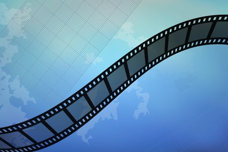 Filmstrip design. Blue abstract background. Vector illustration. Cinema production.