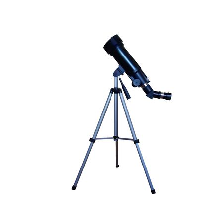 Realistic telescope on a tripod. Vector illustration. Sky and stars magnification.