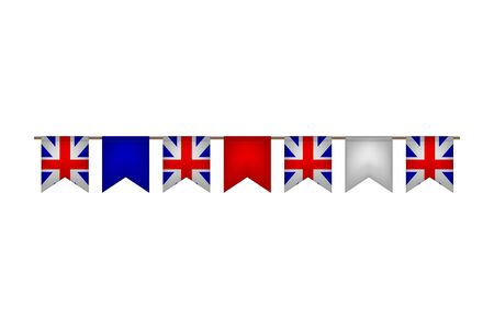 Great Britain flag garlands. United Kingdom carnaval and festival. Vector illustration. White, blue, red.  イラスト・ベクター素材