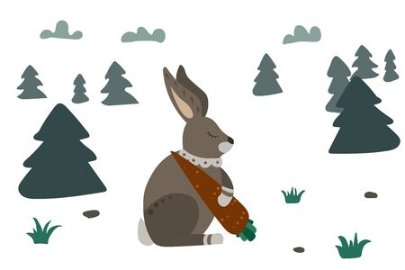Gray hare with carrot. Forest with grass and tree, sky with clouds. Vector illustration.