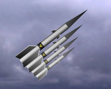 A nuclear missile flies in the sky. Vector illustration. Military forces. Ilustrace