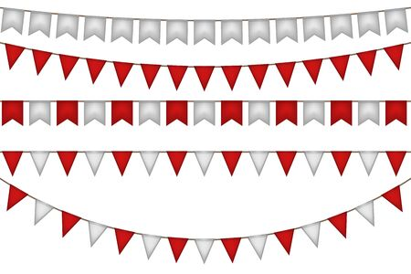 Garlands with flags for party. Red and white decoration. Vector illustration.  イラスト・ベクター素材