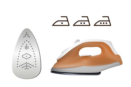 Electric iron. Set of icons. Vector illustration. Home electrical appliances. Ironing clothes