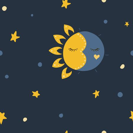 Sleeping sun and moon. Stars in the sky. Vector illustration. Seamless pattern background.
