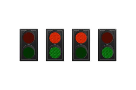 Set of simple traffic lights. Red and green. Vector illustration.  イラスト・ベクター素材