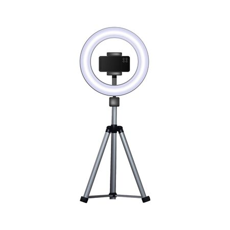 Circular flash for mobile phone. Smartphone on tripod. Vector illustration.  イラスト・ベクター素材