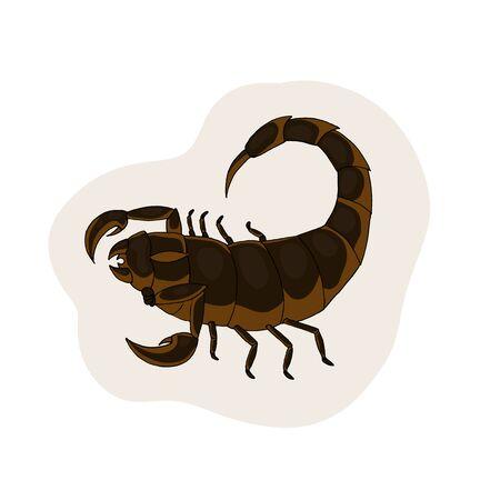 Brown scorpion. Vector illustration. White background. scorpio zodiac sign. Illusztráció