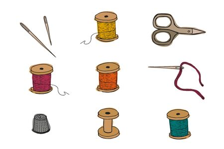 Sewing items set. Vector illustration. Threads, thimble scissors needles