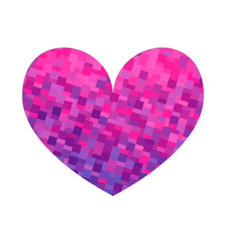 Square texture pink and violet heart. Valentine day card. Vector illustration.