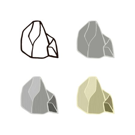 Stone collection. Outline sketch, flat style and realistic. Vector illustration.