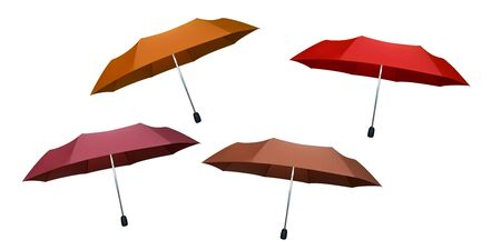 Set of orange, beige, pink and red umbrellas for women. Vector illustration. Protection from rain.