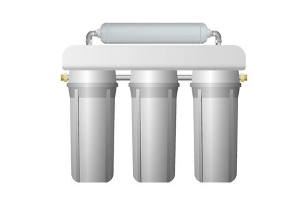 Filter for multi stage water purification. Vector illustration. Treatment equipment.