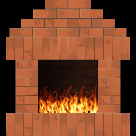 Fireplace with flame. Home interior vector illustration. Brick stonework