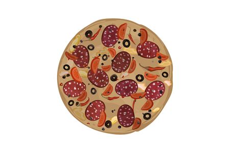 Pepperoni pizza. Tomato, pepper, olives, cheese dough salami sausage seasoning Vector illustration  イラスト・ベクター素材