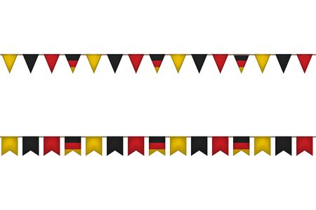 Germany flag garlands. Oktoberfest festival. Vector illustration. Black red yellow  イラスト・ベクター素材