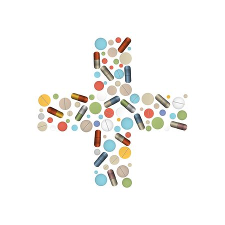 Cross shape with tablets. Pharmacy design. Vector illustration.