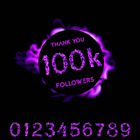Thank you 100K followers. purple neon fire design. Vector Illustration card on black background..  イラスト・ベクター素材