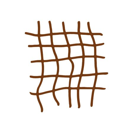 Hand drawn brown grid. Vector illustration. Stroke ink and marker.