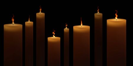 Church candles are on fire. Vector illustration. Candlelight on black background.
