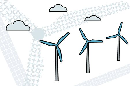 Windfarm. Electric renewable energy. Vector illustration Modern industry