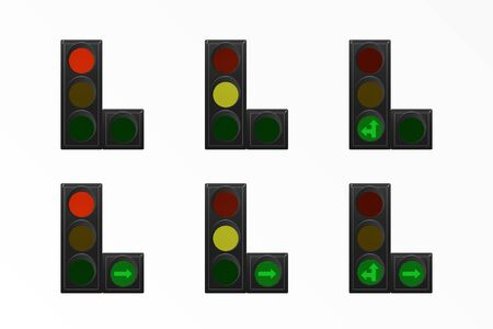 Set of traffic lights. Red, yellow and green. Arrow straight, turn right and left. Vector illustration. Road equipment.  イラスト・ベクター素材