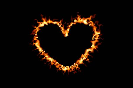 Heart shape in fire. Vector illustration on black background. Valentine day flame design.