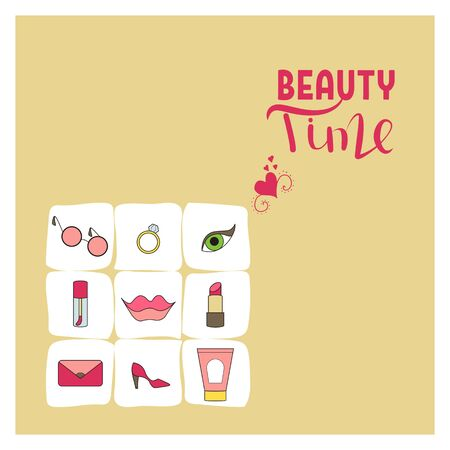 Beauty time card. Flat doodle design vector illustration. Cosmetics and accessories.