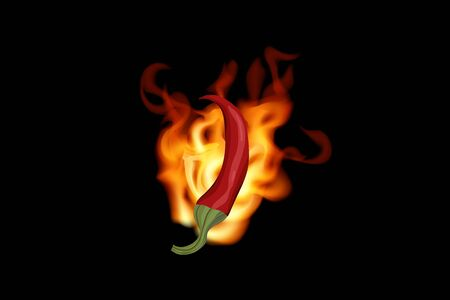Red hot chili pepper in fire on black background. Vector illustration. Vegetarian food.