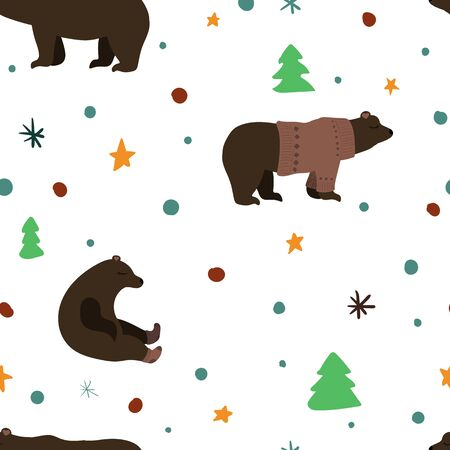 Cute brown bear. Vector illustration. Pink ornate sweater and socks. Seamless pattern background.