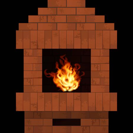 Fireplace with realistic fire. Home interior vector illustration. Brick stonework Banco de Imagens - 143017682