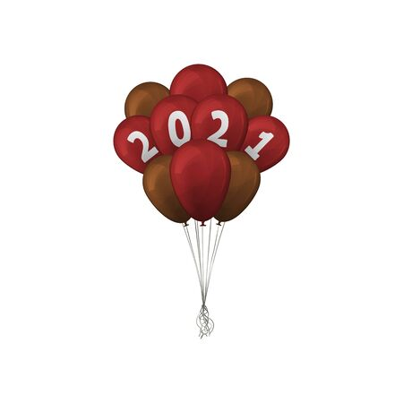 2021 Happy New Year. Gold and red bunch balloons. Vector illustration. Foto de archivo - 143710047