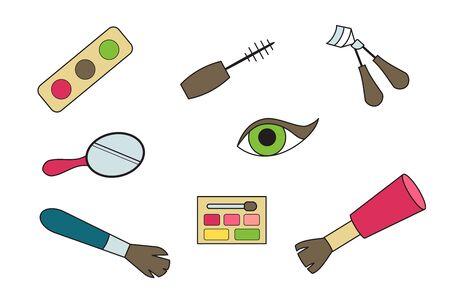 Eye makeup doodle icons. Vector illustration. Mascara, shadows mirror brush Vectores