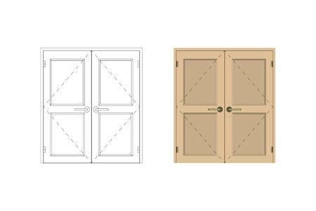 Double leaf door. Design interior. Vector illustration. Vectores