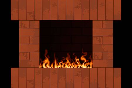 Brick fireplace with flame. Indoors home interior vector illustration.