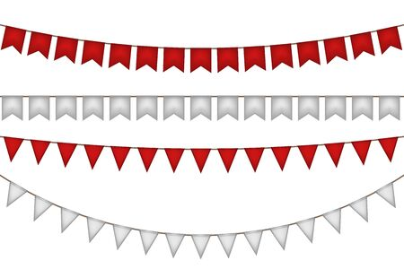 Garlands with flags for carnival. Red and white decoration. Vector illustration.