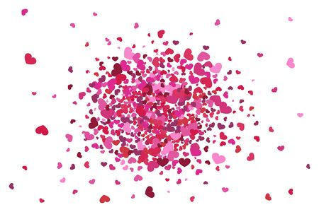 Explosion of the shapes of pink hearts. Vector illustration. Wedding confetti. Valentines Day.