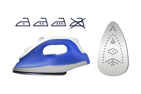 Electric iron for cloth. Vector illustration. Home electrical appliances. Vectores