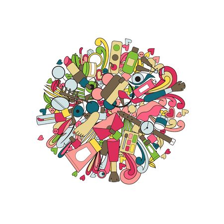 Doodle design cosmetics and accessories. Vector illustration beauty and fashion. Vectores
