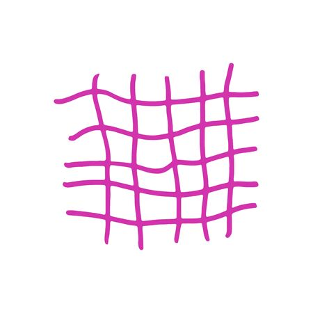 Hand drawn pink grid. Vector illustration. Stroke ink and marker. Vectores