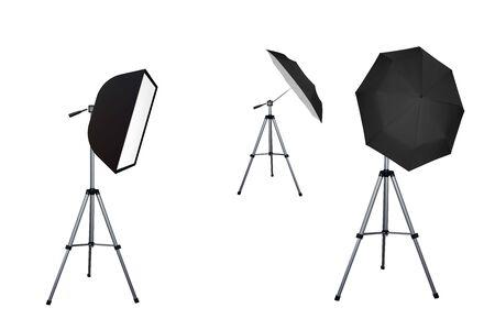 Soft box and black umbrella reflectors. Photo flash equipment. Vector illustration. Spotlight softbox.