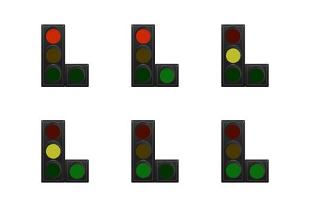 Set of traffic lights. Red, yellow and green. The traffic is straight and right. Vector illustration.