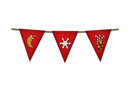 Christmas and new year flag garland. Red decoration. Vector illustration. Star, snowflake and candy gift.
