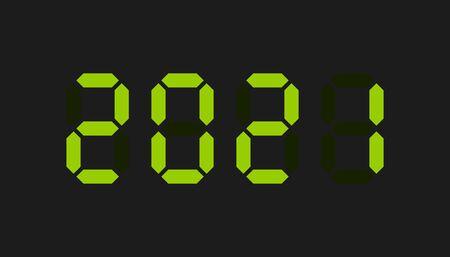 2021 green digital text. Vector illustration. New Year.