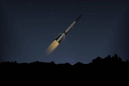 A nuclear missile flies in the night sky. Vector illustration. technology war.